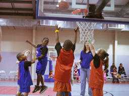 Among activities that kids can learn in a multisports camp is basketball, with a focus on teamwork and skill.