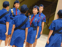 The Girls Brigade helps develop leadership and socialisation skills in such activities such as marching drills.