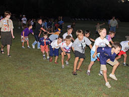 Cub scouts participating in a team building activity.