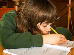 A child doing homework after school