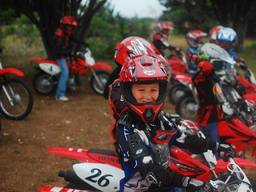 Young boy ready for motocross race