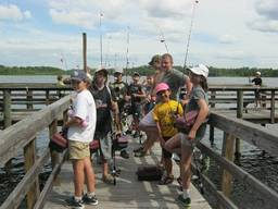 Children enjoying the fishing holiday camp