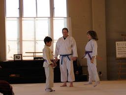 Children starting on aikido classes and lessons.