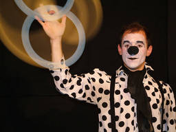 A clown performing