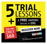 5 Trial Lessons $60 + A FREE Uniform Peakhurst Karate Classes & Lessons _small