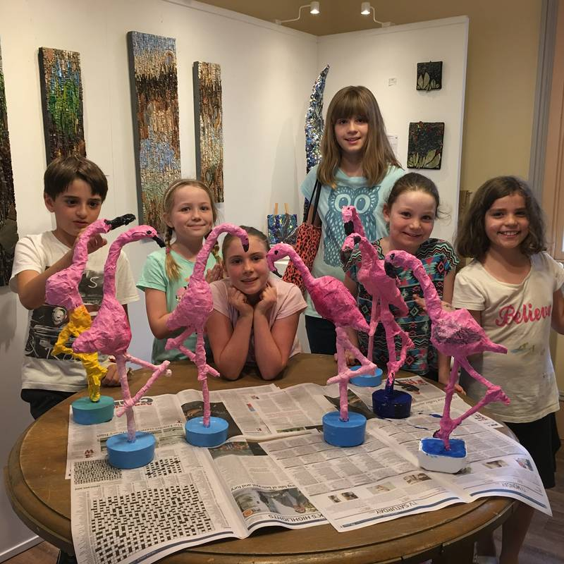 The Picasso Kids Art Class and their Fabulous Flamingo Sculptures