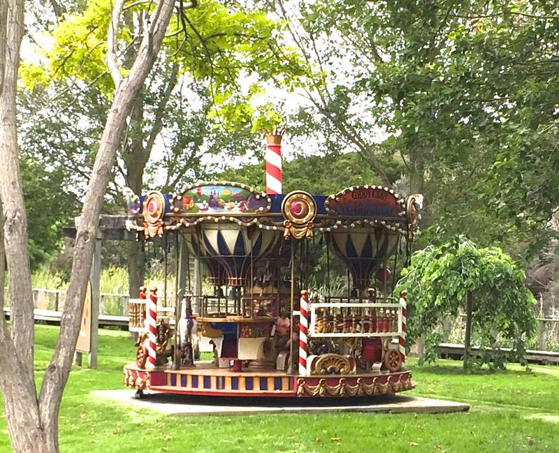 Vintage carousel rides operate on school holidays