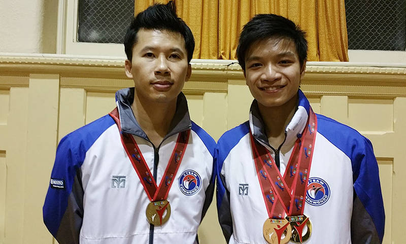 VTEAM Head Instructor Eric Phan and Instructor Peter Tran with their medals that they won at Australian Open Taekwondo championships in 26/06/2015 which held in Melbourne (MSAC)