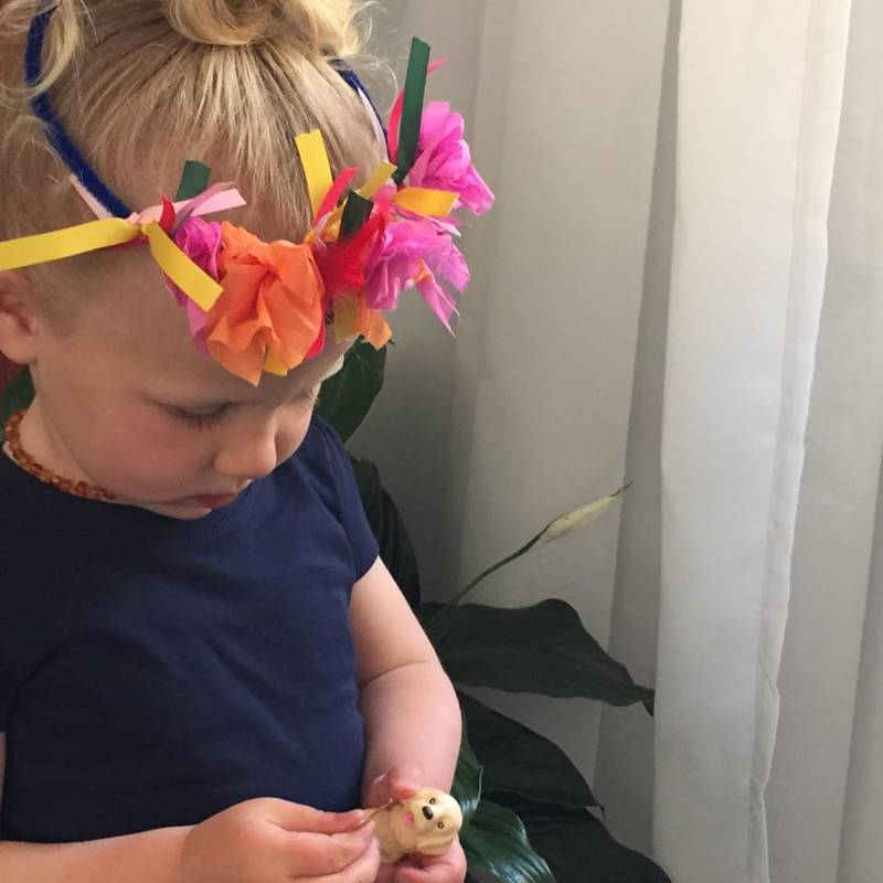 Toddler crafts - making flower crowns